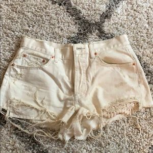 Free People off white jean shorts